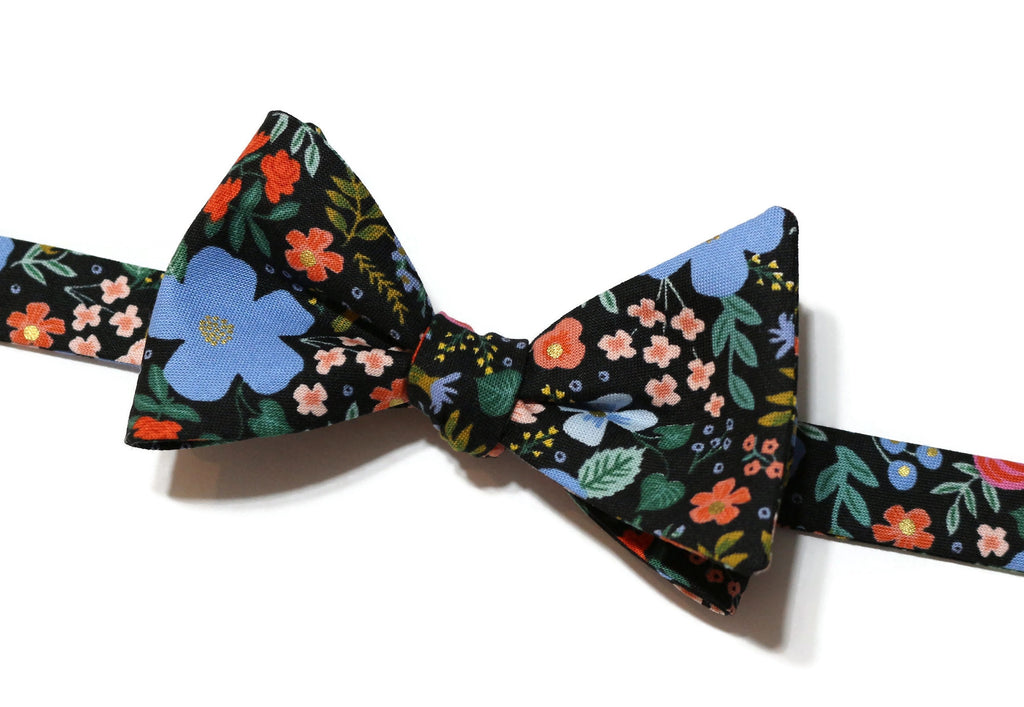 Black Wild Rose Floral Bow Tie w/ Coral Pocket Square