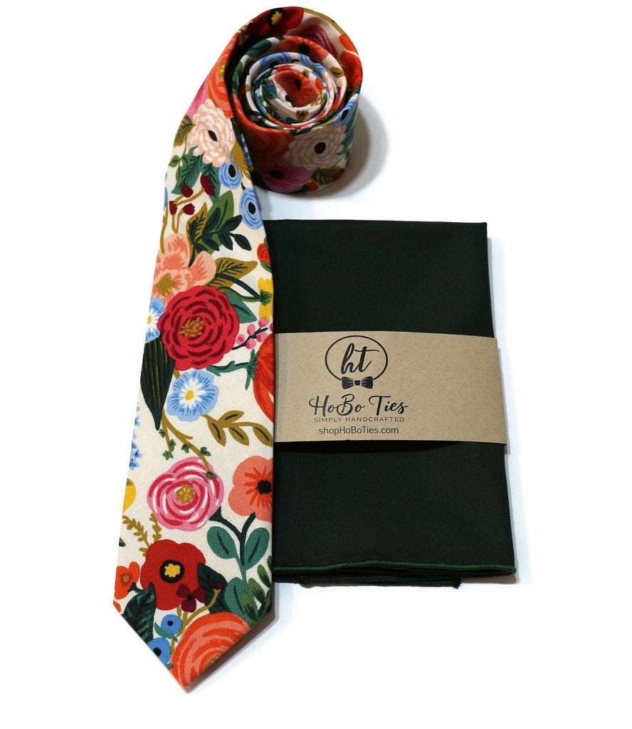Cream Garden Party Floral Necktie w/ Hunter Pocket Square