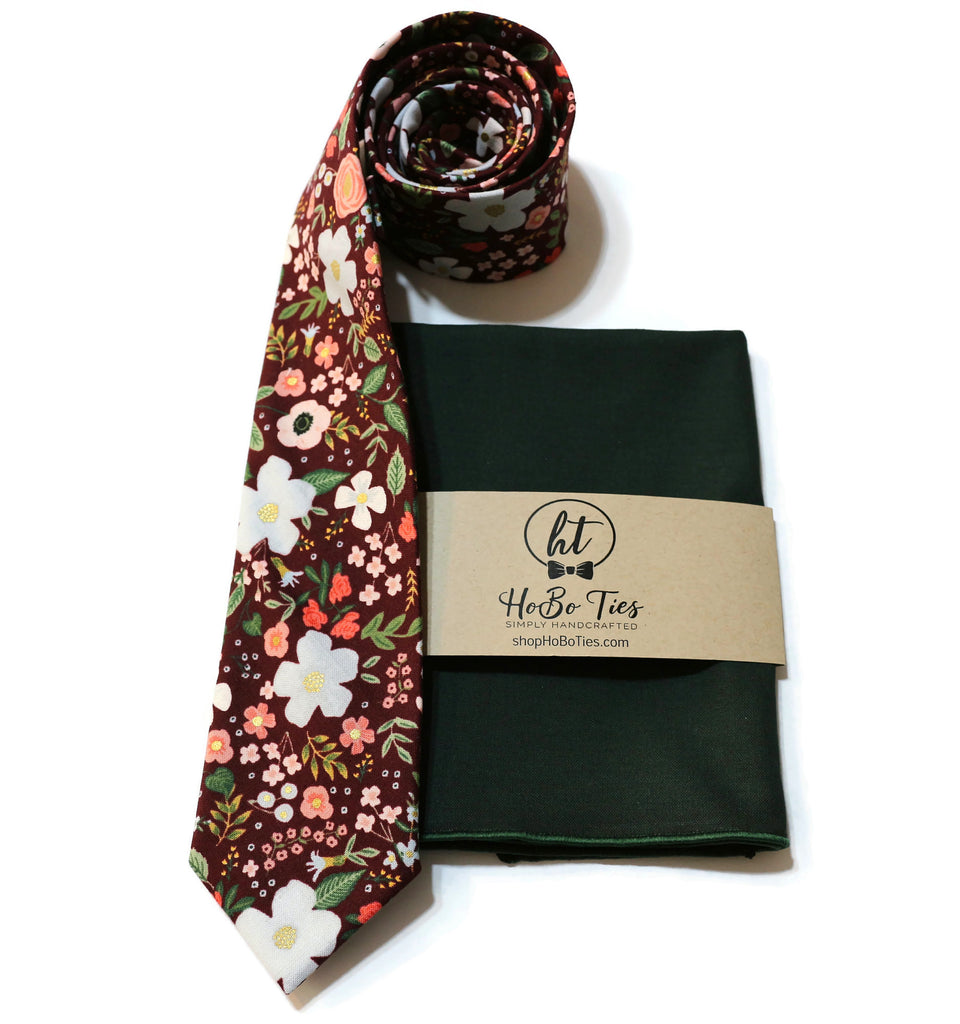 Burgundy Wild Rose Floral Necktie w/ Hunter Pocket Square