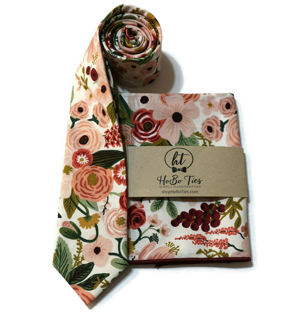 Rose Garden Party Floral Necktie w/ Matching Pocket Square
