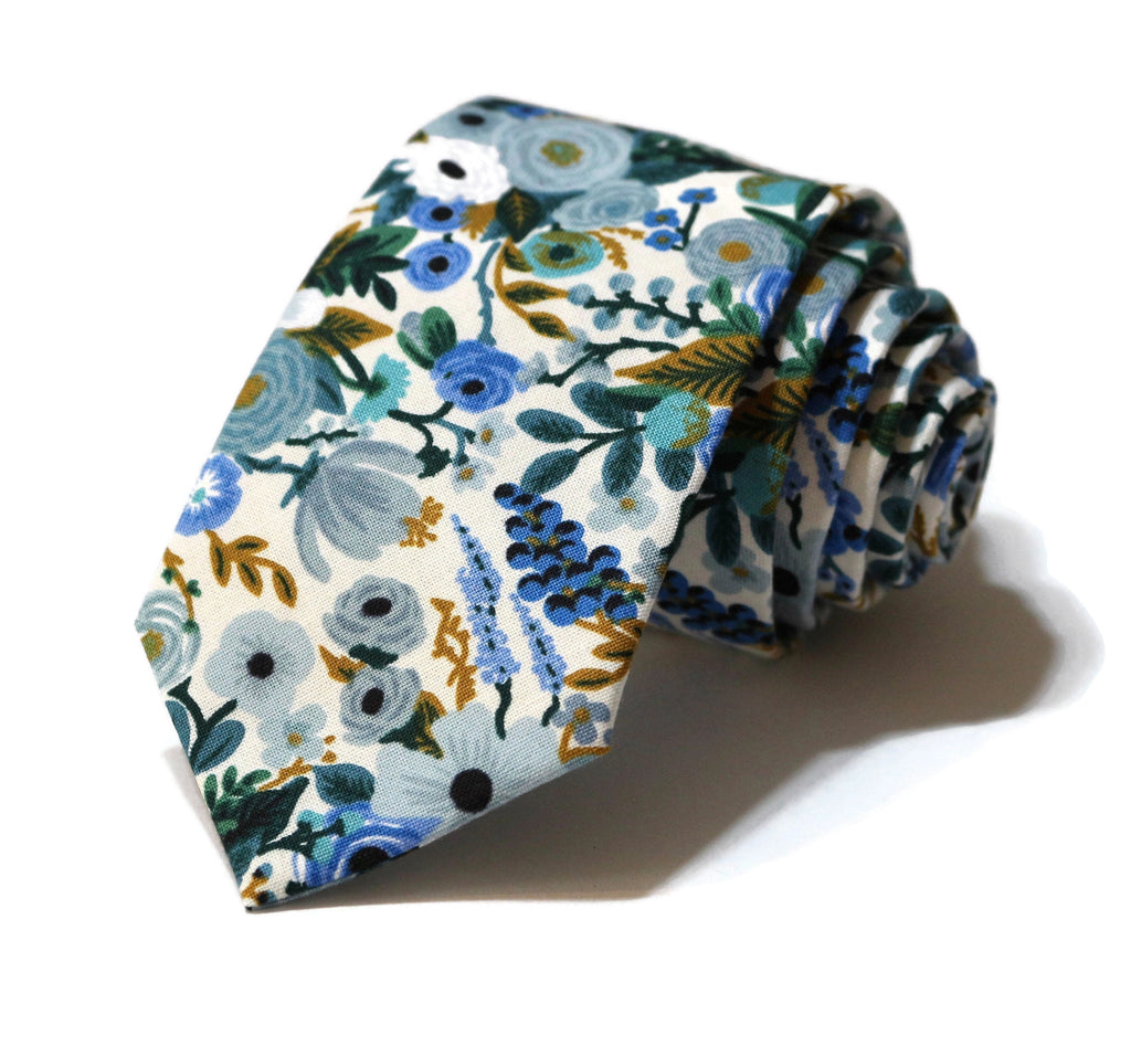 Blue Garden Party Petite Floral Necktie