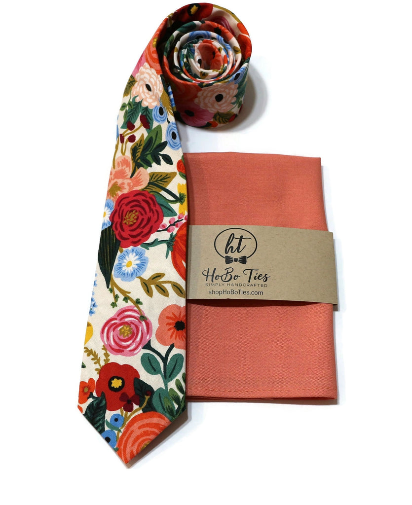 Cream Garden Party Floral Necktie w/ Coral Pocket Square