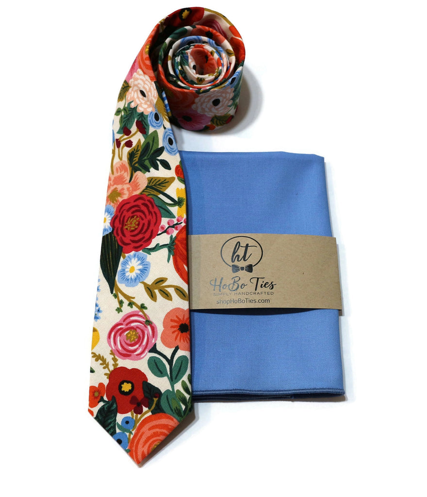 Cream Garden Party Floral Necktie w/ Periwinkle Pocket Square