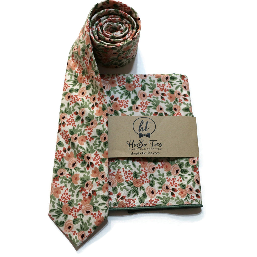 Rose Rosa Floral Necktie w/ Matching Pocket Square