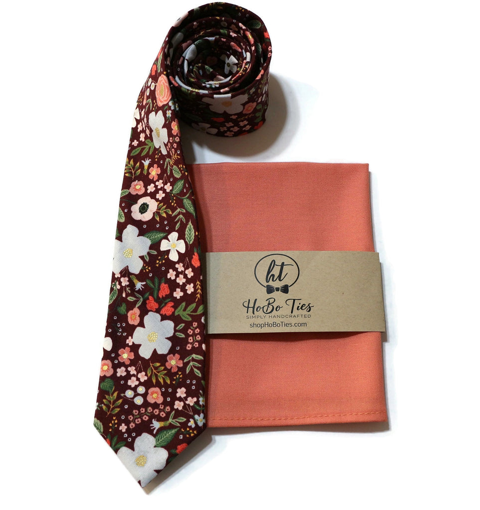 Burgundy Wild Rose Floral Necktie w/ Coral Pocket Square