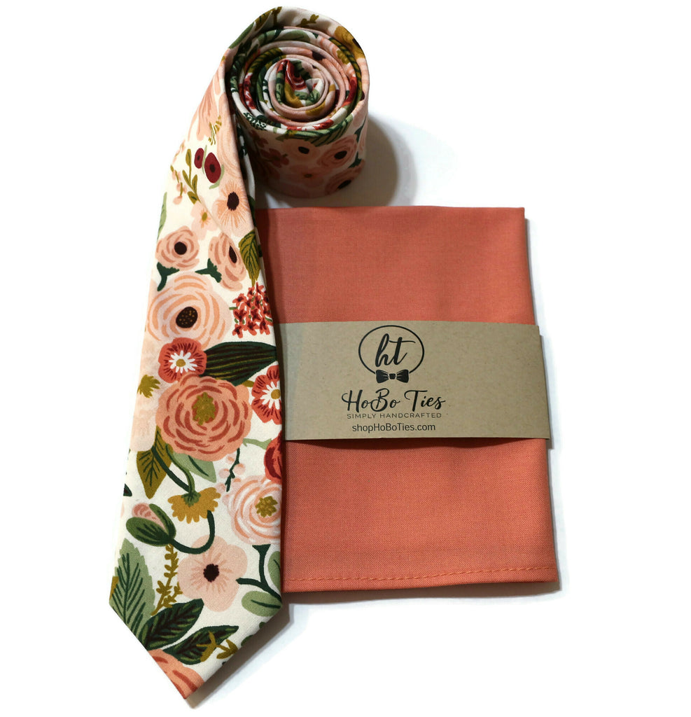 Rose Garden Party Floral Necktie w/ Coral Pocket Square
