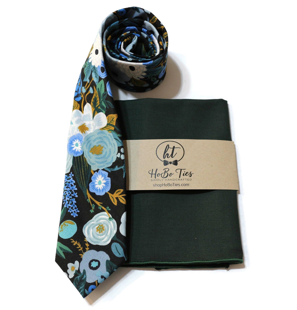 Blue Garden Party Floral Necktie w/ Hunter Pocket Square