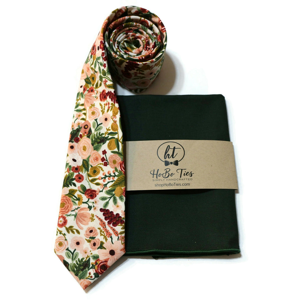 Rose Garden Party Petite Floral Necktie w/ Hunter Pocket Square