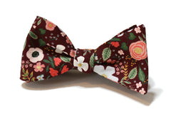 Burgundy Wild Rose Floral Bow Tie w/ Coral Pocket Square