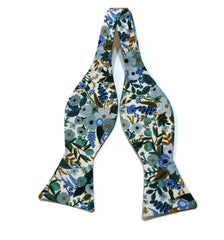 Blue Garden Party Petite Floral Bow Tie w/ Grey Pocket Square