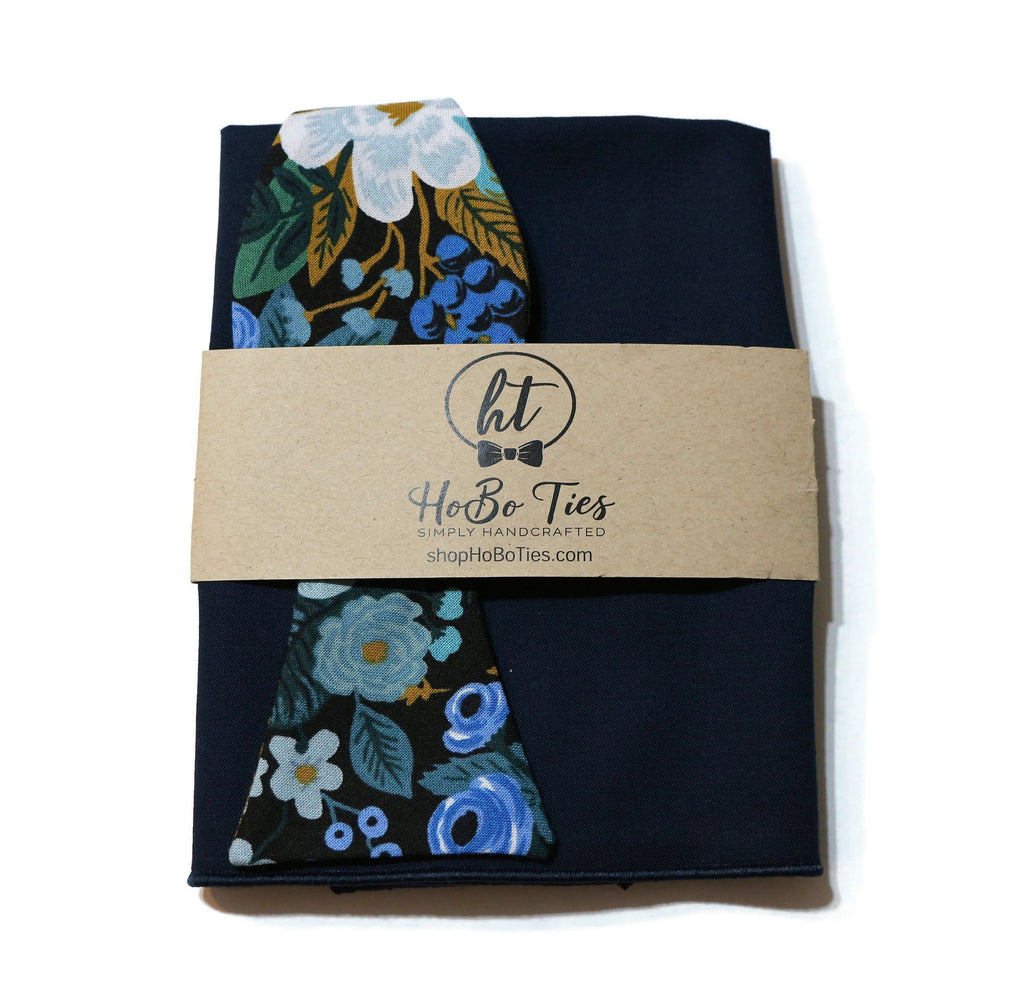 Blue Garden Party Floral Bow Tie w/ Navy Pocket Square