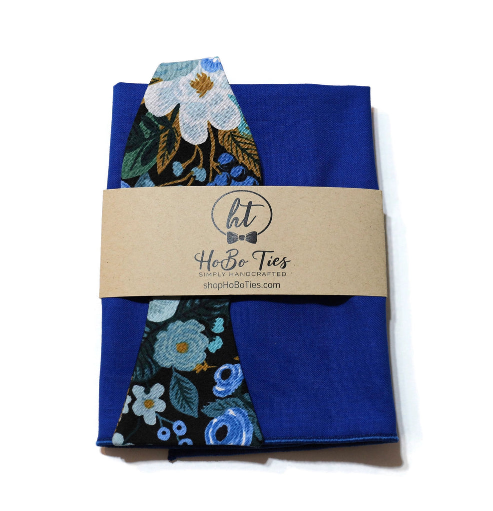 Blue Garden Party Floral Bow Tie w/ Royal Pocket Square