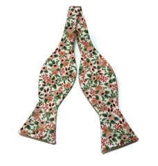 Rose Rosa Floral Bow Tie w/ Coral Pocket Square