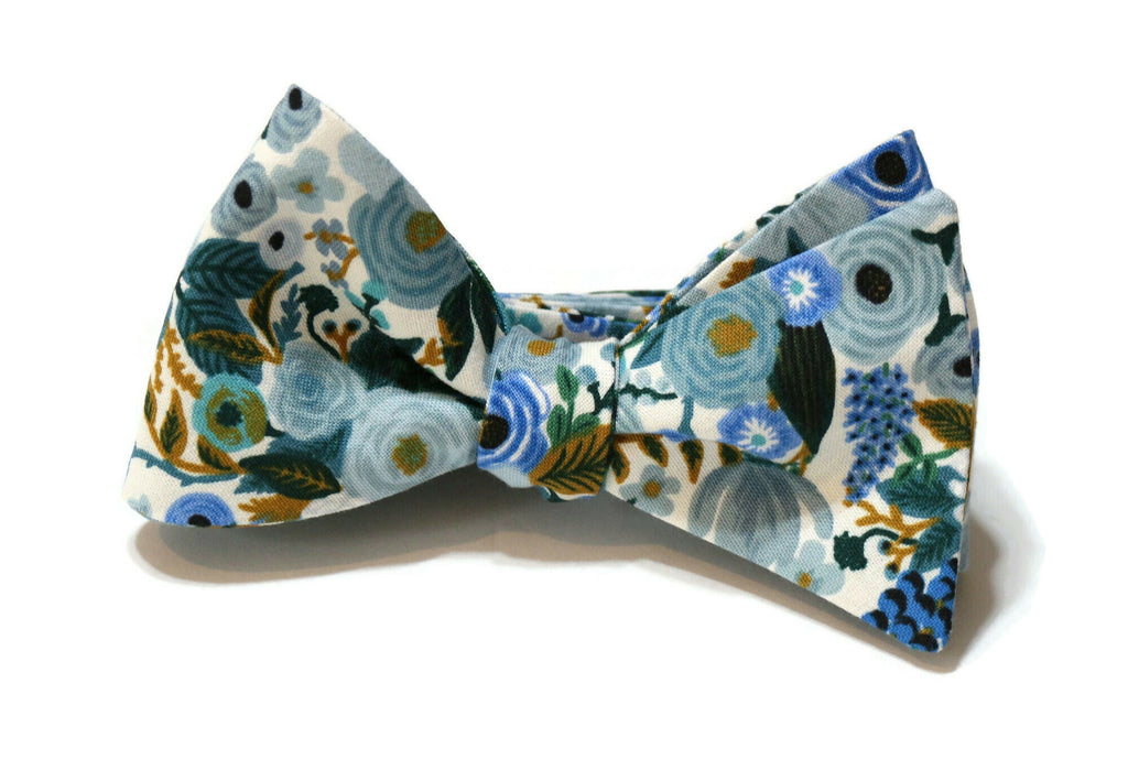 Blue Garden Party Petite Floral Bow Tie w/ Dusty Blue Pocket Square