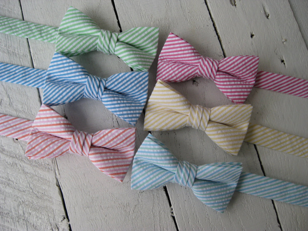 seersucker boys bow ties, green blue yellow pink blue, boy bow tie