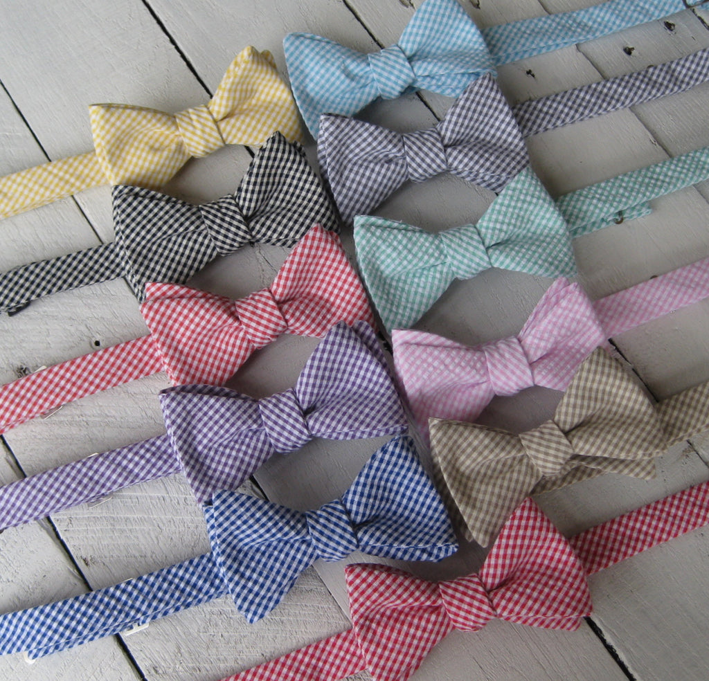 Gingham Seersucker Bow Tie