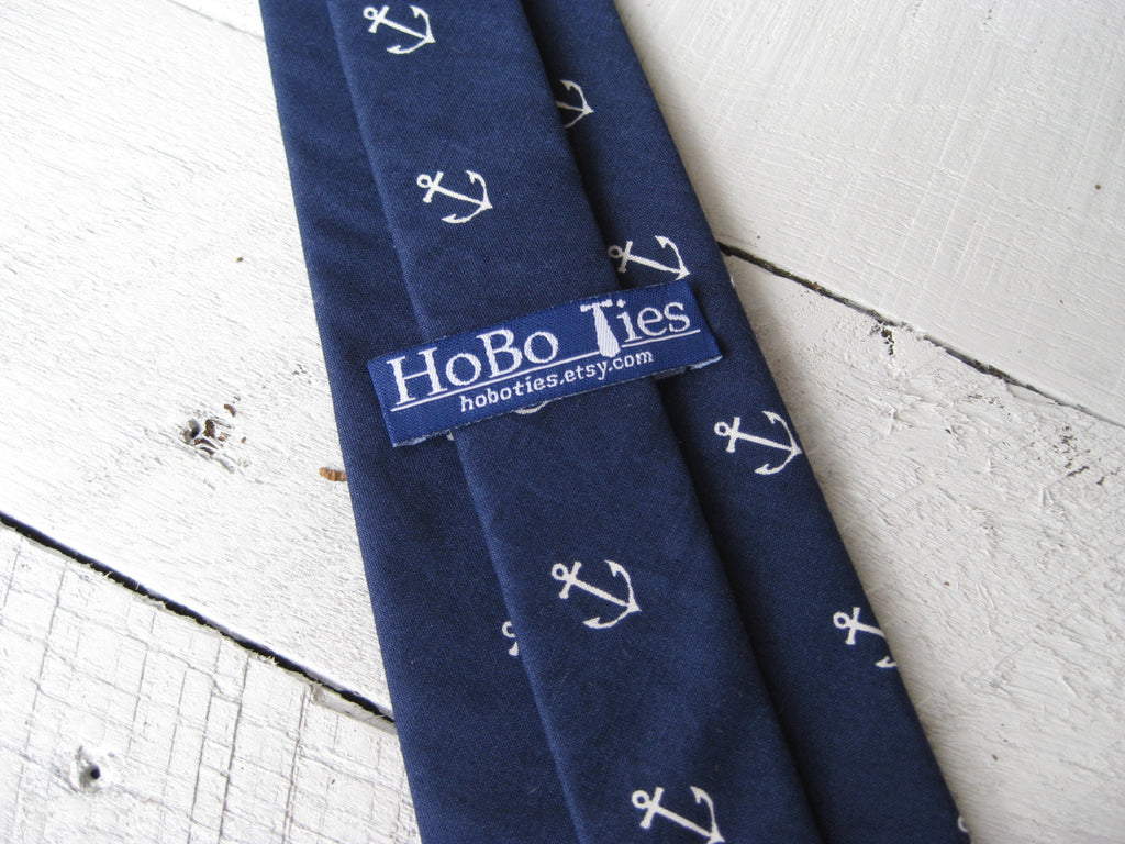 Navy Anchors Mens Necktie