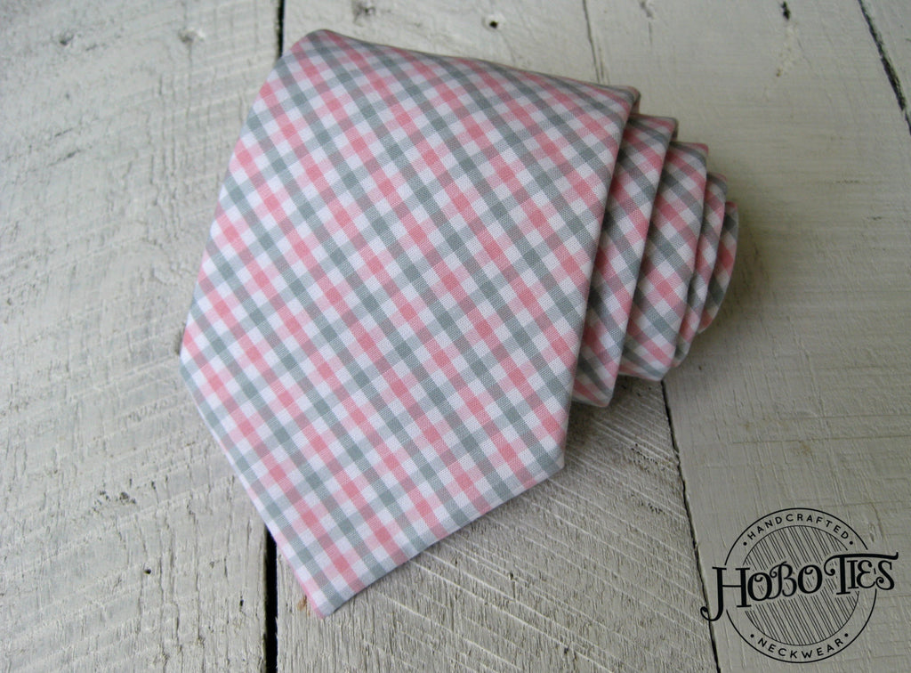Pink and Gray Tattersall Necktie