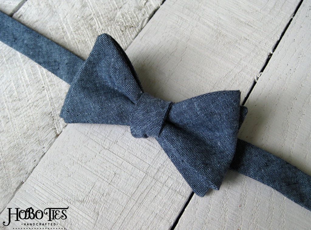 Nautical Linen Bow Tie