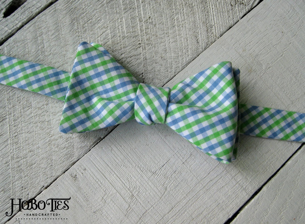 Cornflower & Lime Tattersall Bow Tie