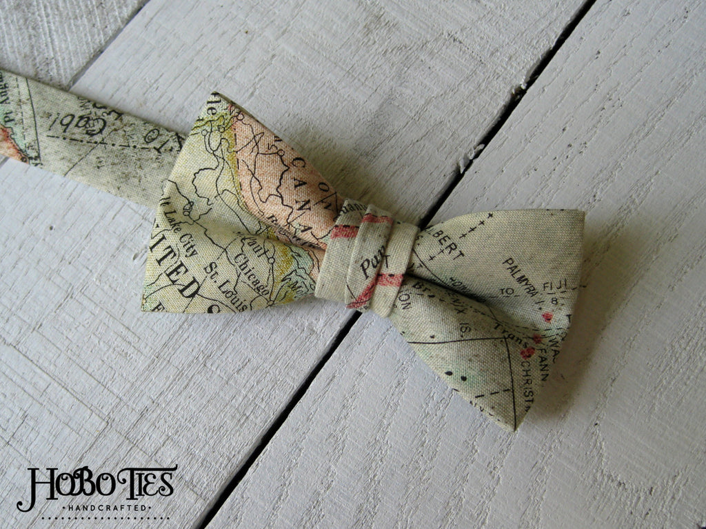 Boys Map Bow Tie, world map bow tie