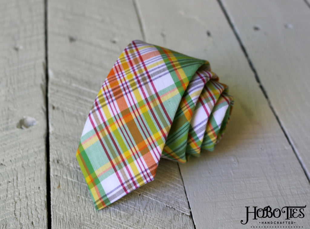 Green and Orange Plaid Necktie