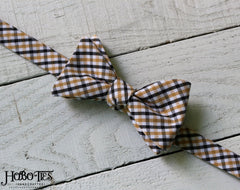 Black & Gold Tattersall Bow Tie