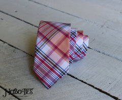 Pink Plaid Necktie - Youth