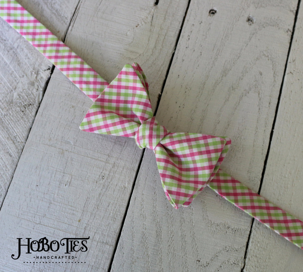 Pink & Green Tattersall Bow Tie