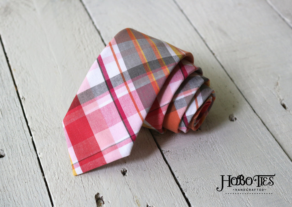 Coral Plaid Necktie