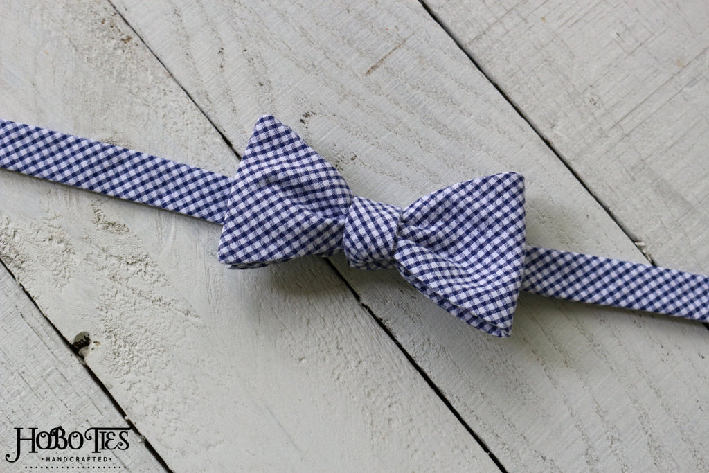 Navy Gingham Seersucker Bow Tie