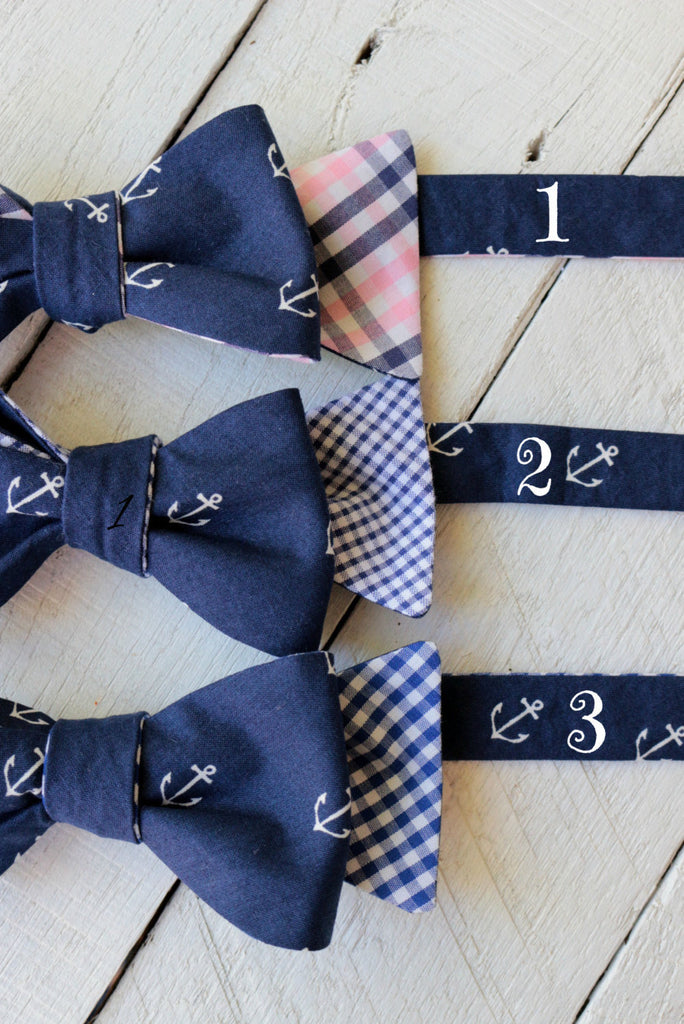 Navy Anchor Reversible Bow Tie