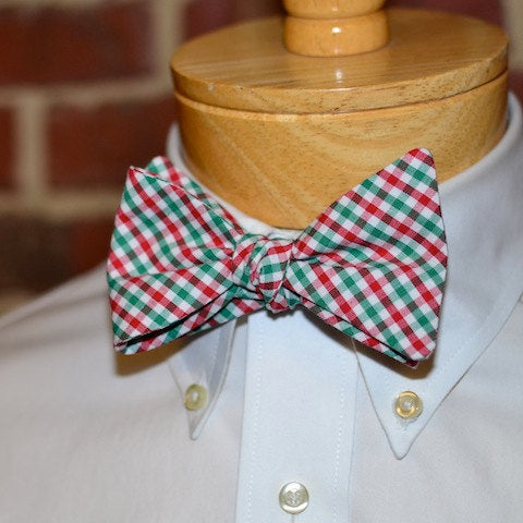 Christmas Tattersall Bow Tie