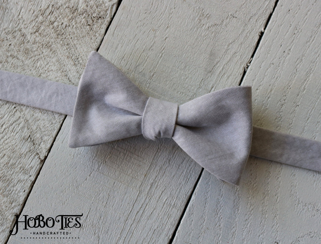 Gray Chambray Bow Tie