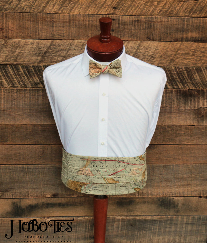 World Map Cummerbund & Bow Tie