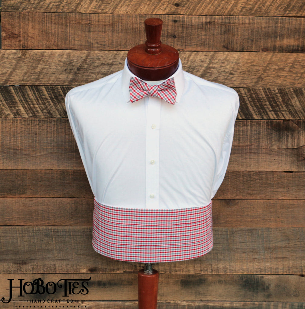 Red & Grey Tattersall Cummerbund & Bow Tie