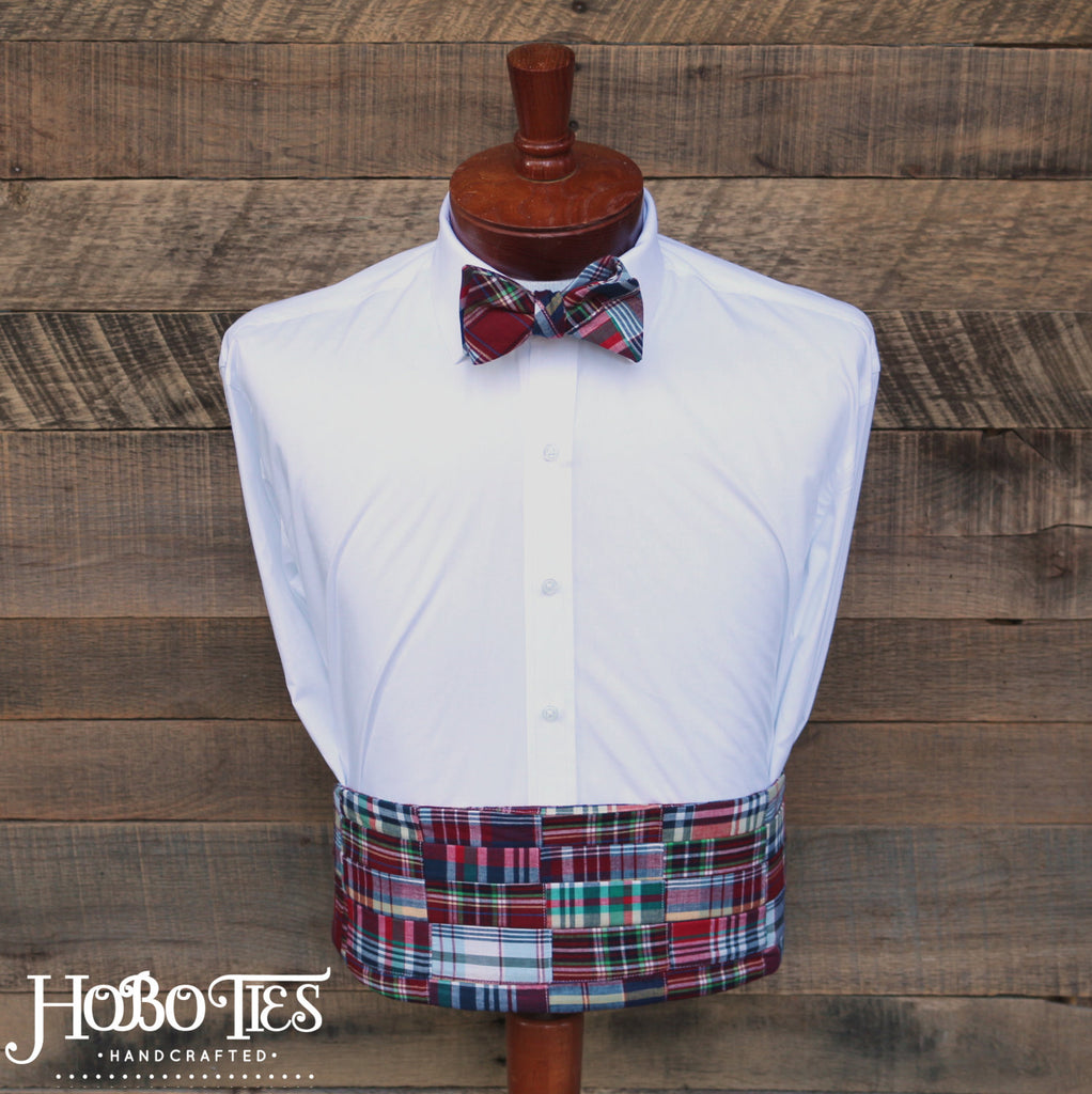 Red Madras Patchwork Plaid Cummerbund & Bow Tie