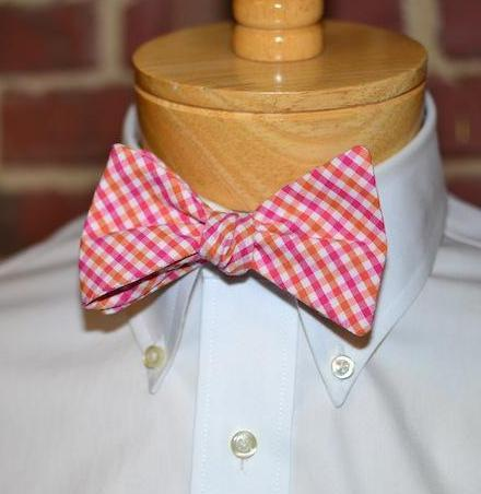 Pink & Orange Tattersall Bow Tie