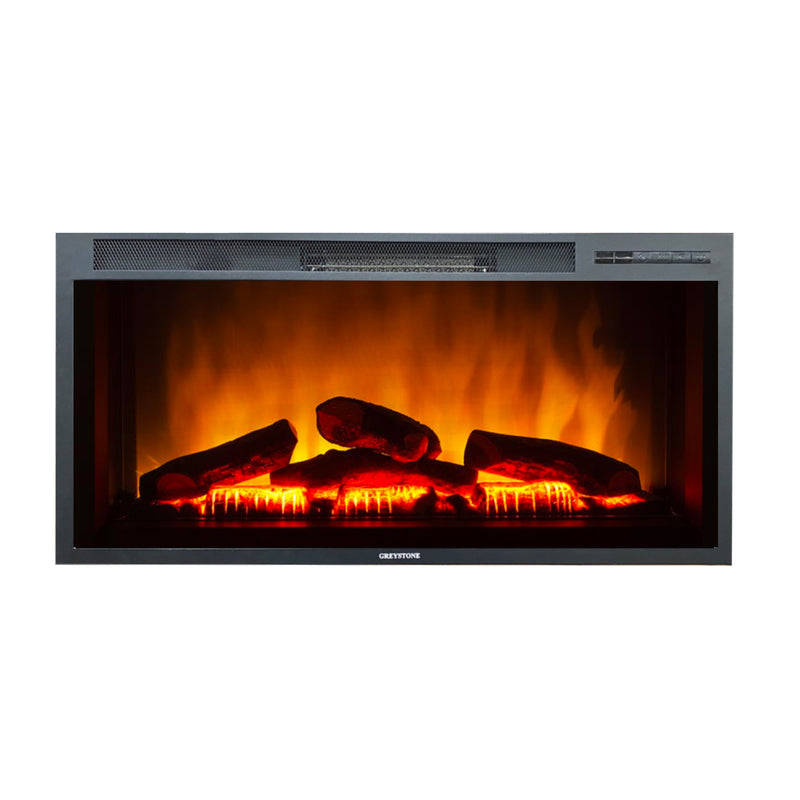 36 Inch Black Wall Mount Fireplace with Log Set