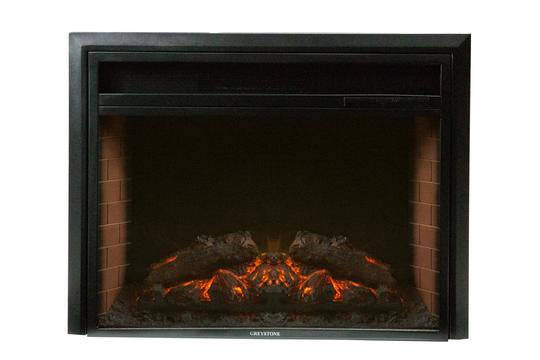 26 Inch Black Fireplace with Crystal Log Set