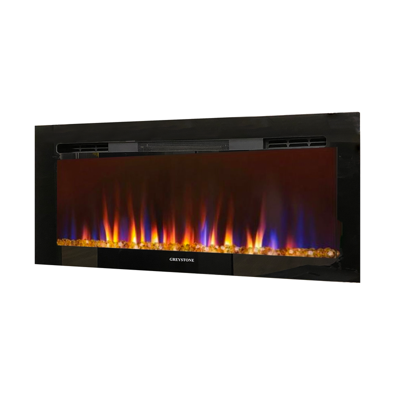 32 Inch Black Fireplace with Crystals