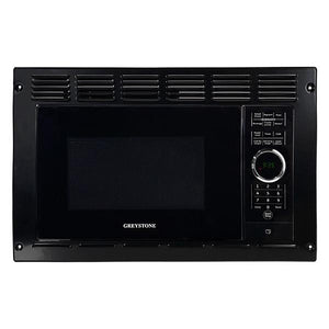 ".9 cu ft ""Greystone"" black microwave."