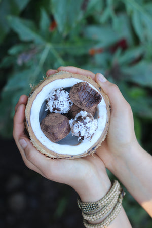 Sweet Energy Balls in a Coconut shell