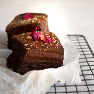 No-Bake Vegan Gourmet Brownies with Chocolate Ganache Frosting