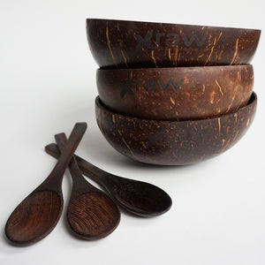 3 Coconut Bowls + 3 wooden Spoons - Pack