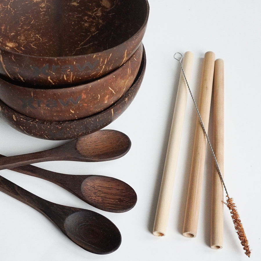 Eco Friendly Pack- 3 Coconut Bowls + 3 Wooden Spoons + 3 Bamboo Straws + 1 Straw Cleaning Brush