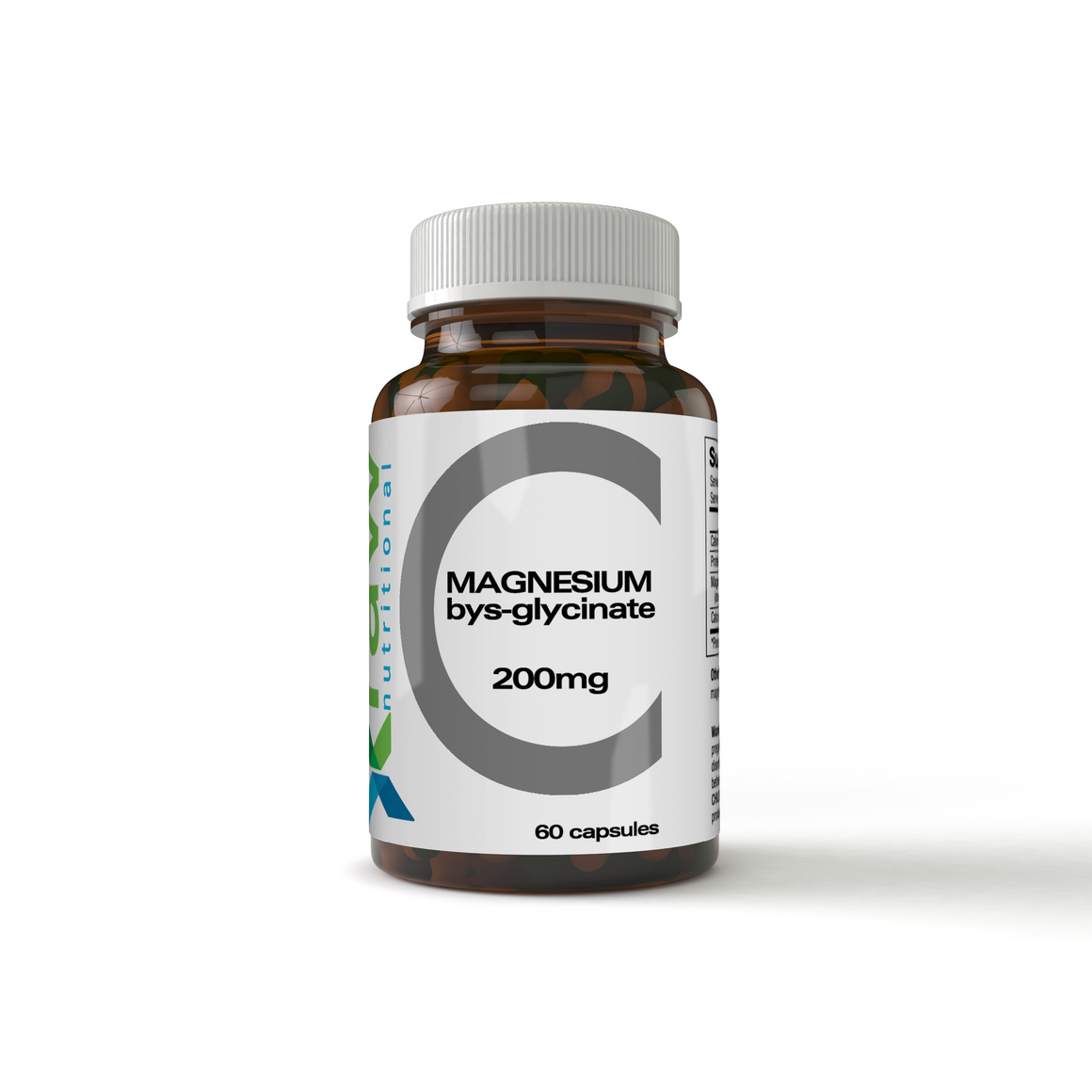 Magnesium bis-glycinate product in a amber glass bottle contains 60 capsules