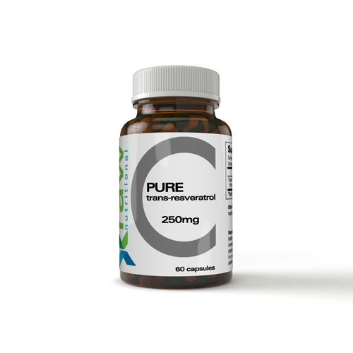 Raw Nutritional Pure Trans-Resveratrol Product in a Amber Glass Bottle Containing 60 Capsules