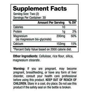 magnesium bis-glycinate nutrition fact panel