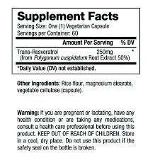 Raw Nutritional Pure Trans-Resveratrol Nutrition Fact Panel